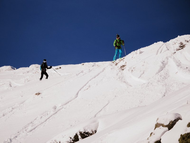 Waiting to drop in on a bluebird day