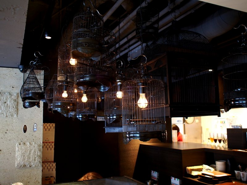 Birdcage lights over the counter