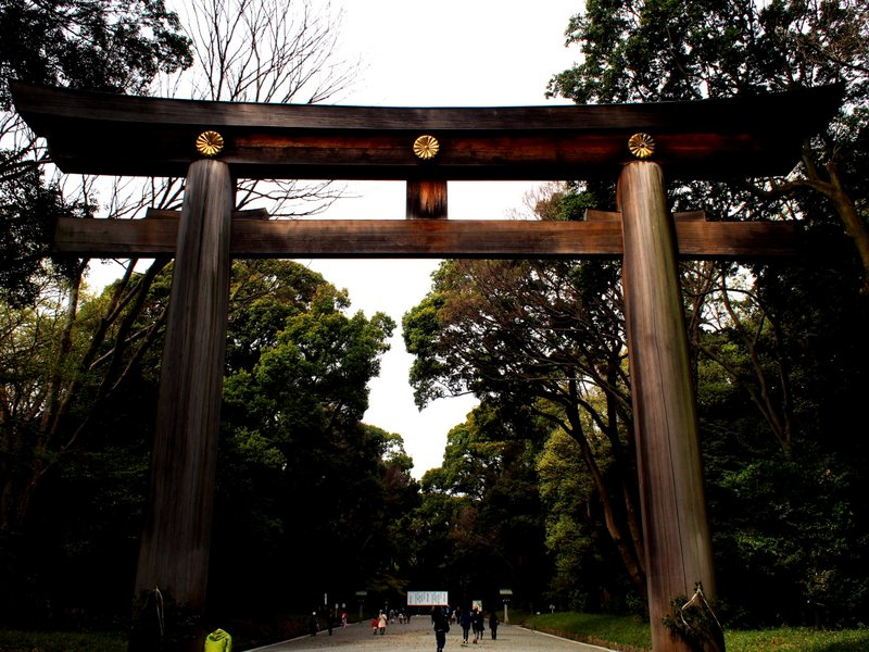 The Torii Gate - All shrines have these and they designate the separationof holy ground from the secular world