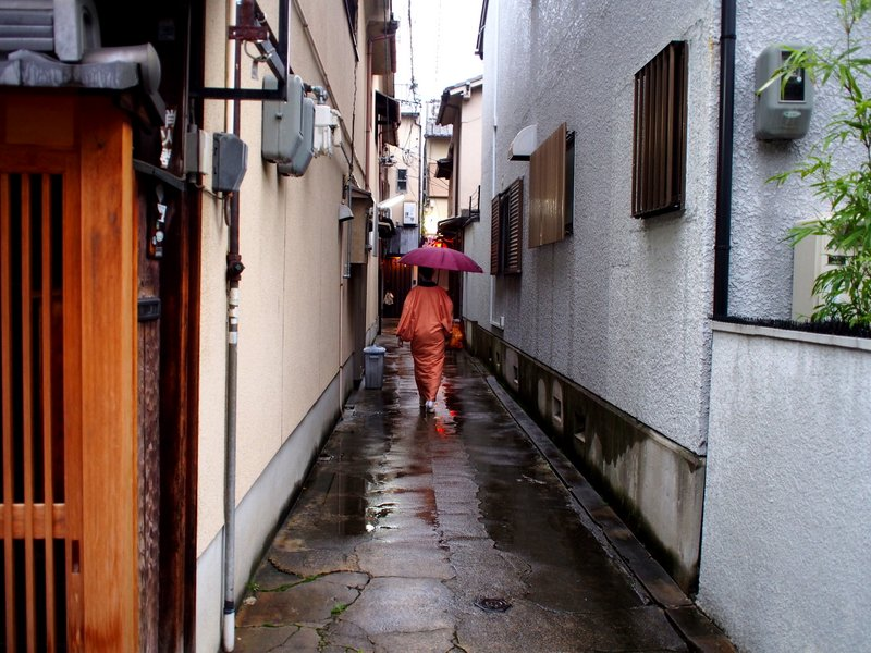 Geisha on her way to work