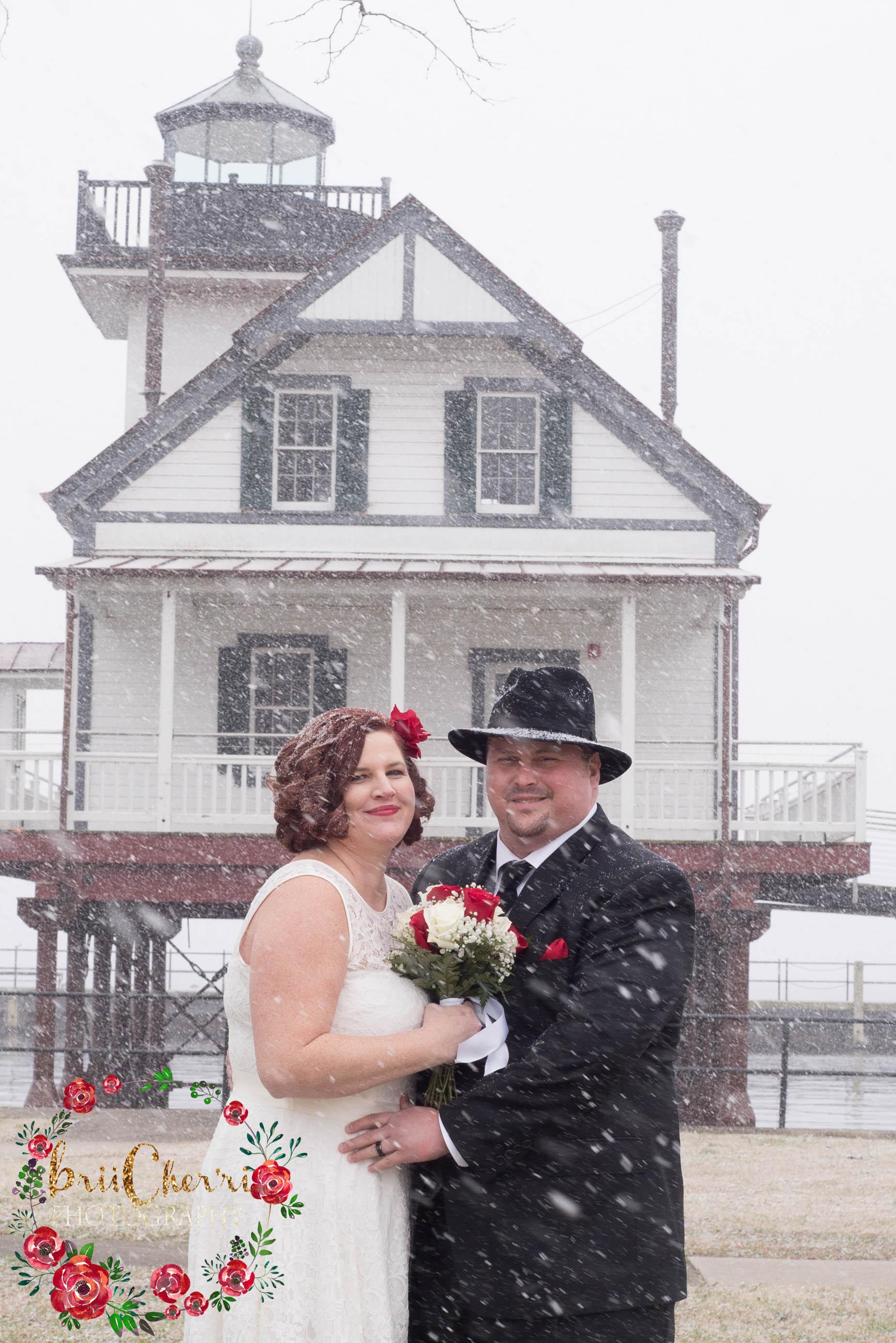 Winter Wedding at Edenton Lighthouse & Waterfront in Edenton North Carolina.