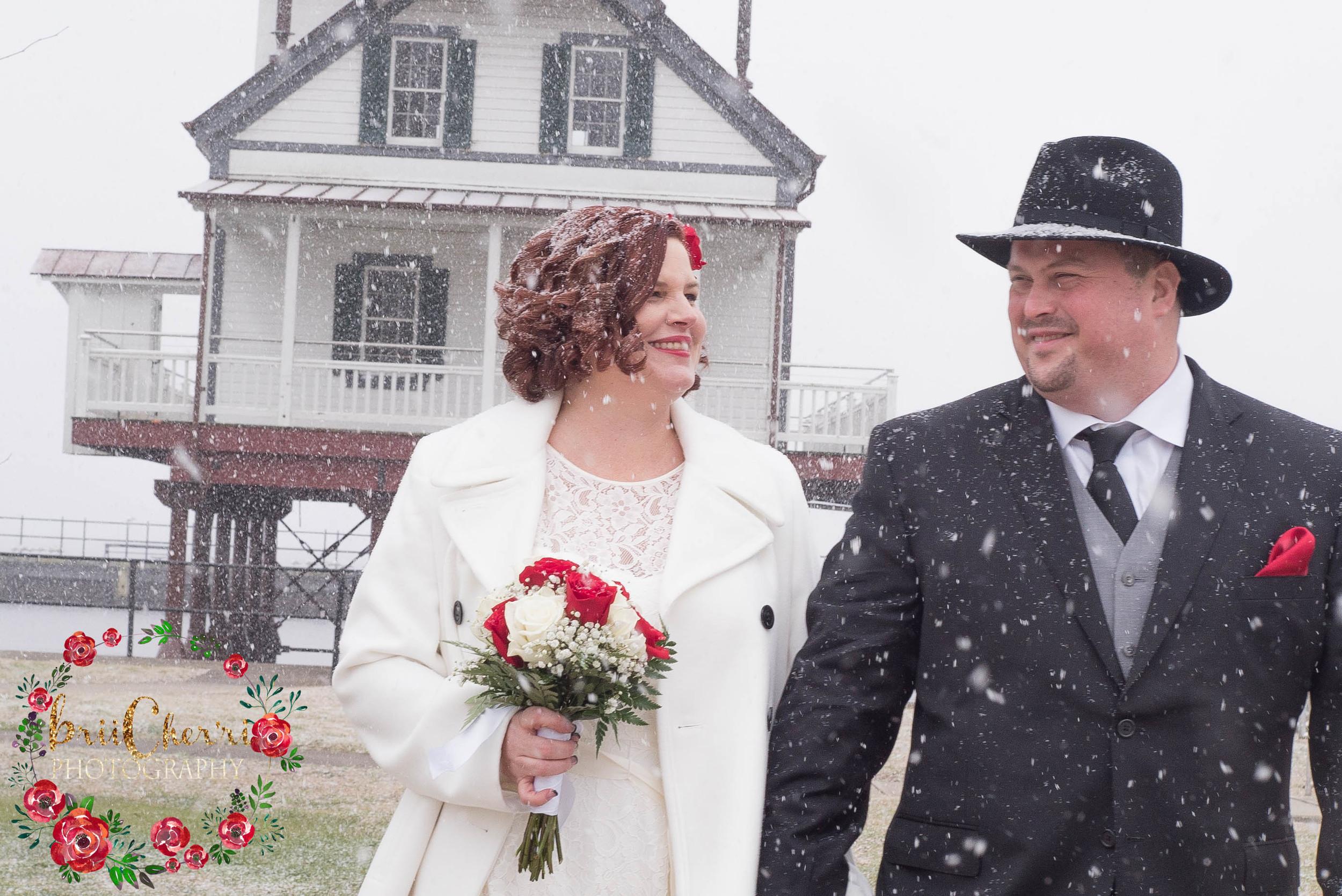Winter Wedding with Brii Cher'ri Photography at Edenton Lighthouse & Waterfront in Edenton North Carolina.