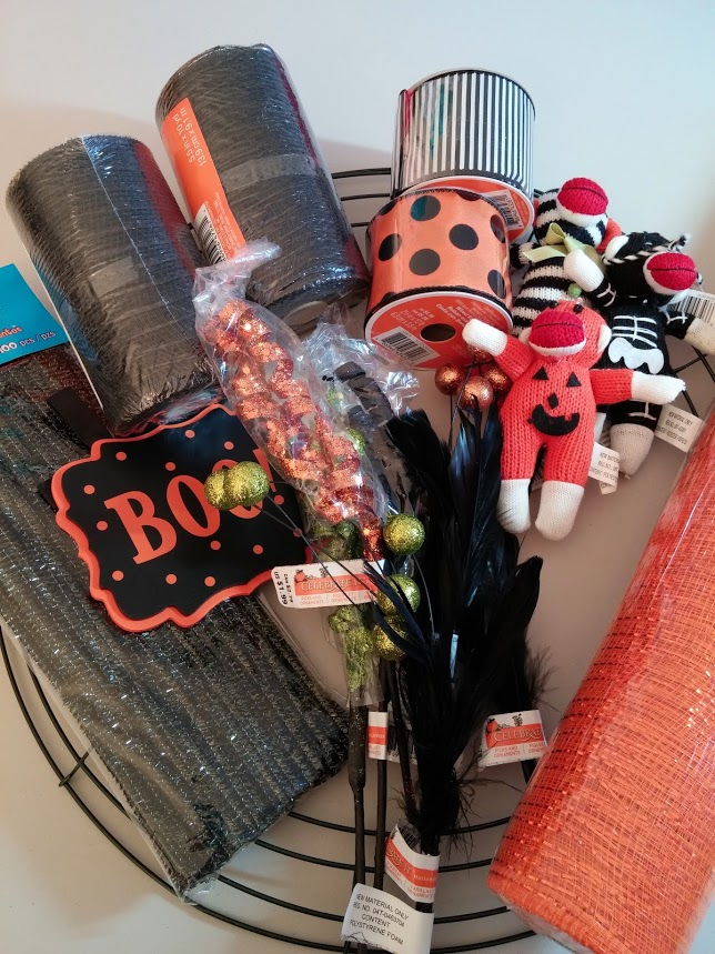 My supplies for the 2014 Halloween Wreath
