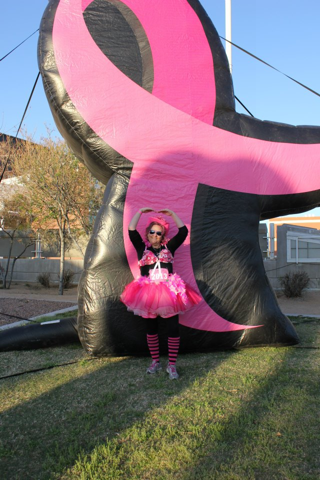 My sweet friend, and breast cancer survivor, Lyn at the So. AZ Race for the Cure...She always has amazing get ups for the walk and to raise awareness