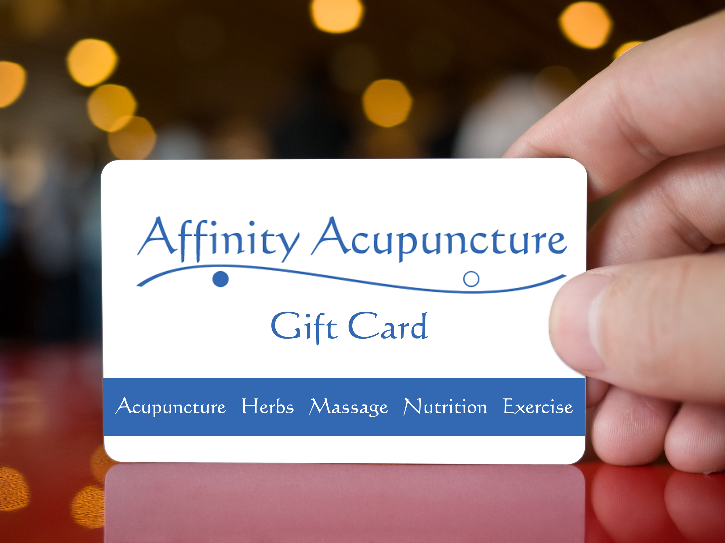 Gift card for acupuncture or massage; birthday, graduation, anniversary present
