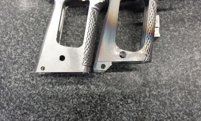 """2. Left: Frame -Standard 1911 pistol    Right: Frame which has been modified to accept a Chen Magwell Gen 1 (aka """"Magwell Suite'"""")"""