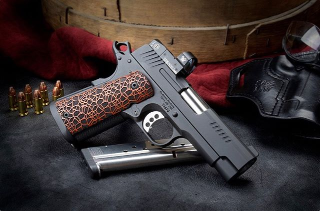 "Just released: The new E9-LW from @edbrownproducts! It's an awesome carry pistol, featuring our Chen Custom Gen2 Magwell, which gives the pistol a huge funnel for fast reloads without adding any length. Check it out!  From @edbrownproducts ""The EVO Series was intended from its inception to evolve.  In today's market you'll find more and more handguns equipped with electronic sights, while the requirement for smaller and lighter also increases.  The E9-LW meets both of these demands, featuring a lightweight aluminum frame, with a shortened and thinned 4"" slide topped with a Vortex Venom® red dot sight.  The E9-LW is the first model in the EVO series equipped with a red dot sight.  The 6 MOA dot promotes rapid target acquisition, while providing a precise point of aim.  Featuring 25 LPI checkering, and fitted with a Chen Gen2 magwell, it is the ideal choice to add a 360 degree funnel, without increasing the height of the frame.  Finished out with the exclusive Labyrinth grips, seven top slide and special front and rear cocking serrations, the E9-LW continues the striking appeal of the EVO series. Optimized for 9mm, it retains 100% 1911 controls and handling characteristics, and features an external extractor, easy-to-change front sight, fluted bull barrel, and a flat wire recoil spring system.  Hand-built completely from fully machined components, loaded with custom features, and backed by a written Lifetime Warranty."" . . . .  #Gen2Magwell #EVOSeries #E9LW #EdBrown #9mm #CarryPistol #StanChenCustoms #1911 #Custom1911"