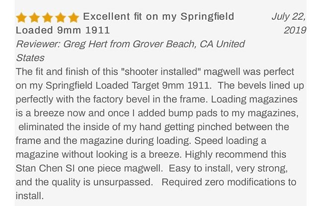 #TestimonialTuesday!  We love hearing your thoughts and seeing your reviews on the Chen SI Magwell! Thank you to everyone who took the time out of their day to let us know what you think. You guys are the 💣 ! The Chen SI Magwell is a one-piece, drop-in magwell that is 100% shooter installable- no gunsmithing needed! Check it out in the link in our bio. . . .  #ChenSIMagwell #NoGunsmithingNeeded #DropInMagwell #DoItYourself #StanChenCustoms #CustomGun #Custom1911 #1911