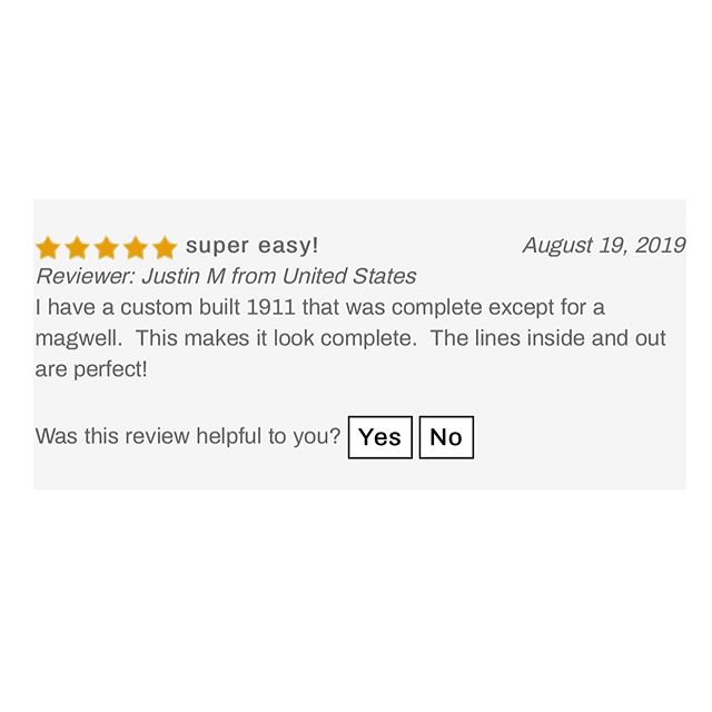 #TestimonialTuesday !  When you have 70+ five star reviews on a magwell… you know it's a good product.  We're so glad to hear how much you guys are enjoying the Chen SI Magwell! Check out some of the reviews of the SI Magwell from our awesome customers! Thank you to everyone who took the time to share your thoughts on the magwell.  Check out the SI Magwell in the link in our bio!  #ChenSIMagwell #DIY #AwesomeCustomers #BackInStock #1911 #Custom1911 #1911Magwell #CustomGun