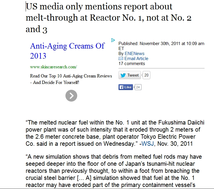 1a US media only   report  melt-through at Reactor No. 1, not at No. 2 and 3.jpg