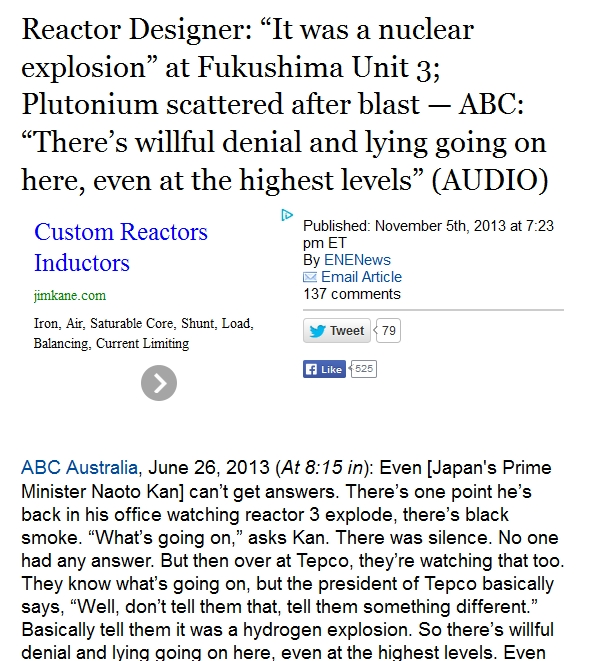 """14 Reactor Designer """"It was a nuclear explosion"""" at Fukushima Unit 3; Plutonium scattered after blast.jpg"""