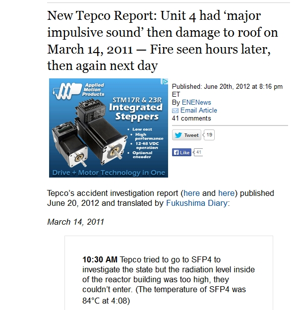 New Tepco Report Unit 4 had 'major impulsive sound' then damage to roof on March 14, 2011 — Fire seen hours later, then again next day.jpg