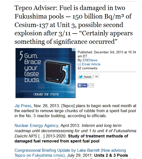 Tepco Adviser Fuel is damaged in two Fukushima pools — 150 billion Bqm³ of Cesium-137 at Unit 3, possible second explosion after 311.jpg