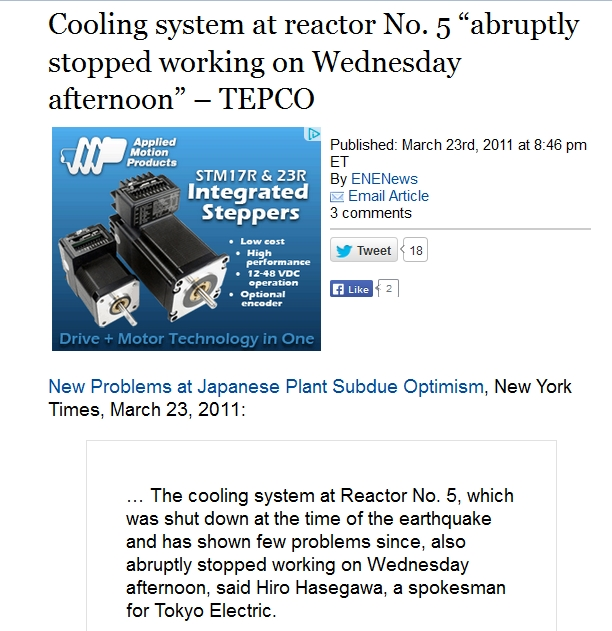 """Cooling system at reactor No. 5 """"abruptly stopped working on Wednesday afternoon"""" – TEPCO.jpg"""
