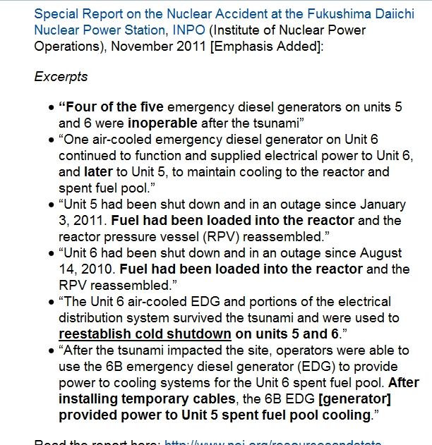 Four of the five emergency diesel generators on units 5 and 6 were inoperable after the tsunami.jpg