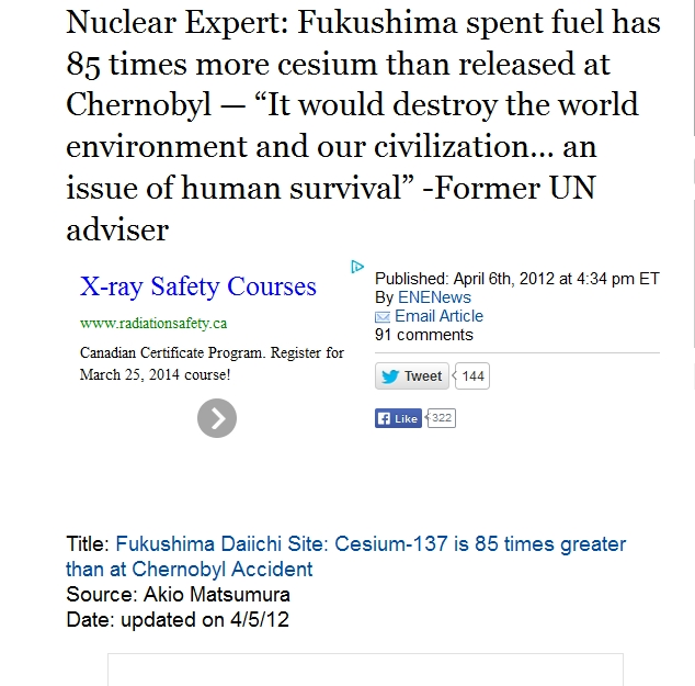"1 Nuclear Expert Fukushima spent fuel has 85 times more cesium than released at Chernobyl — ""It would destroy the world environment and our civilization… an issue of human survival.jpg"