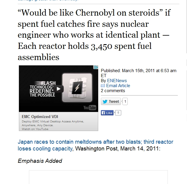 "1 Would be like Chernobyl on steroids"" if spent fuel catches fire says nuclear engineer who works at identical plant — Each reactor holds 3,450 spent fuel assemblies.jpg"
