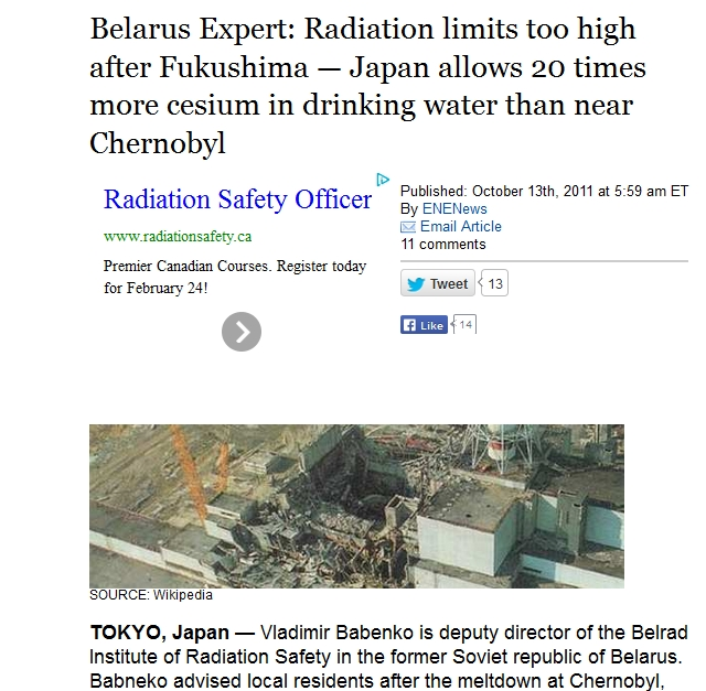 Belarus Expert Radiation limits too high after Fukushima — Japan allows 20 times more cesium in drinking water than near Chernobyl.jpg