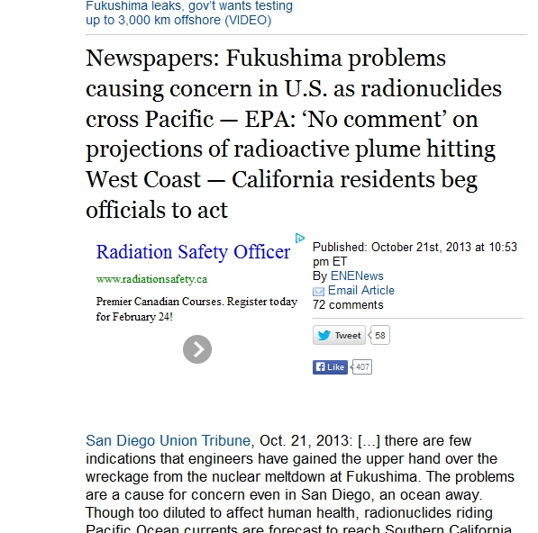 Newspapers Fukushima problems causing concern in U.S. as radionuclides cross Pacific — EPA 'No comment' on projections of radioactive plume.jpg