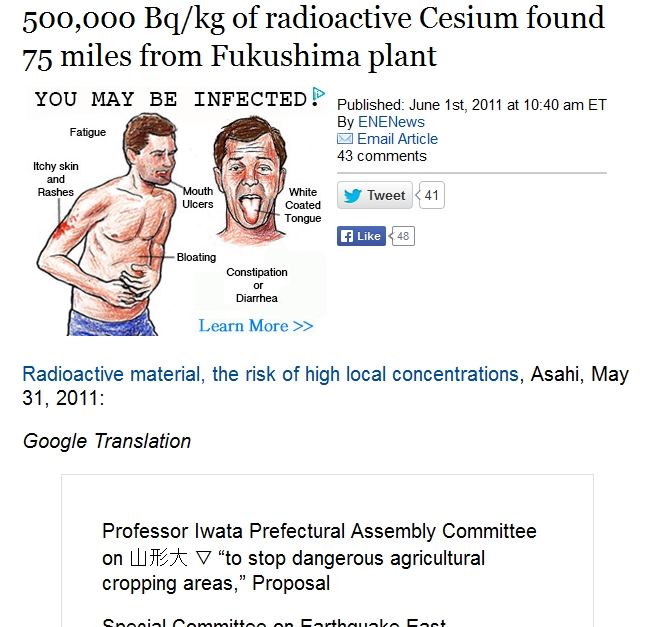 75 miles 500,000 Bqkg of radioactive Cesium found 75 miles from Fukushima plant.jpg