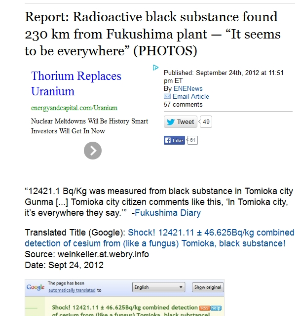 "230 km Report Radioactive black substance found 230 km from Fukushima plant — ""It seems to be everywhere"".jpg"