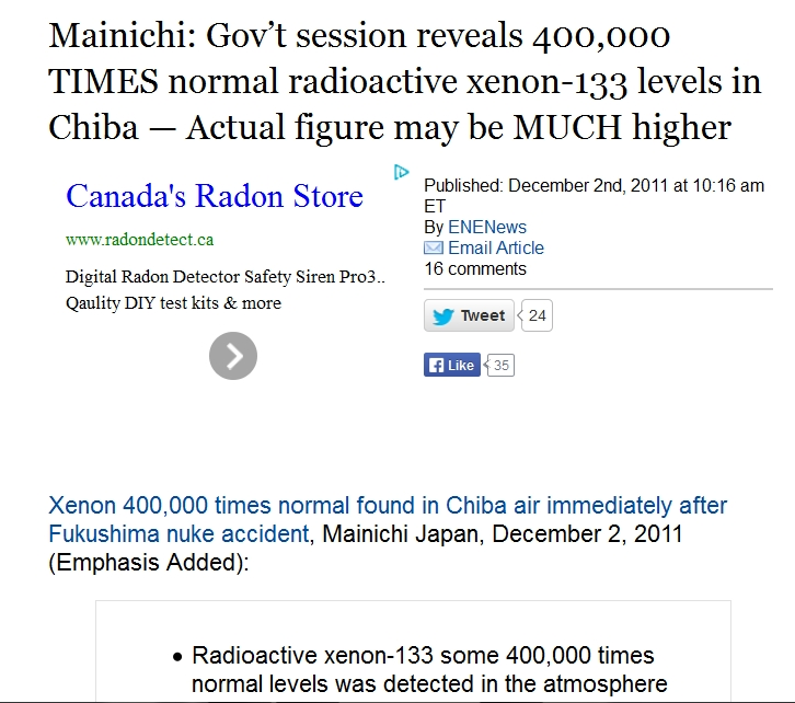 240 km Mainichi Gov't session reveals 400,000 TIMES normal radioactive xenon-133 levels in Chiba.jpg