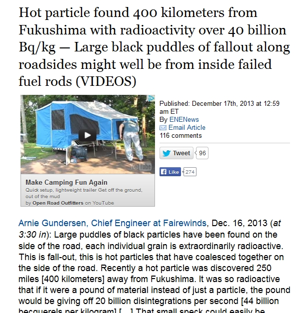400 km Hot particle found 400 kilometers from Fukushima with radioactivity over 40 billion Bqkg.jpg