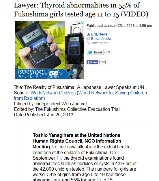 1k Fukushima children have thyroid cysts or nodules — 13,646 do and 24,468 don't.jpg