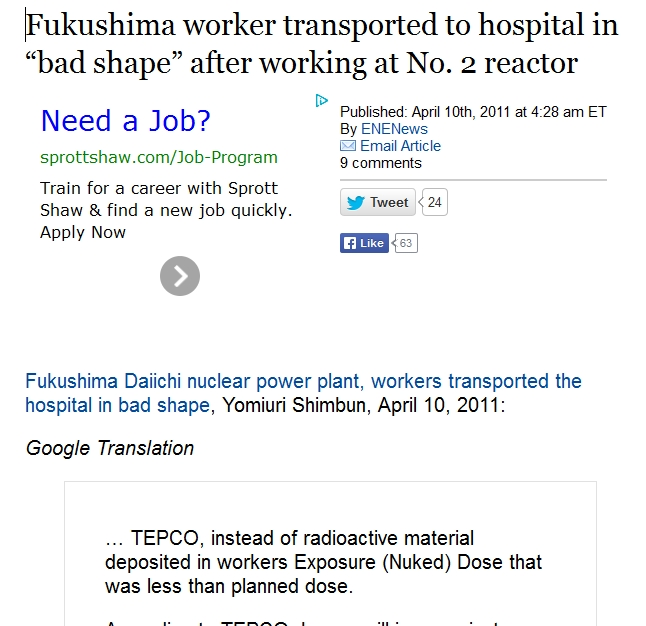 "a worker transported to hospital in ""bad shape"" after working at No. 2 reactor.jpg"