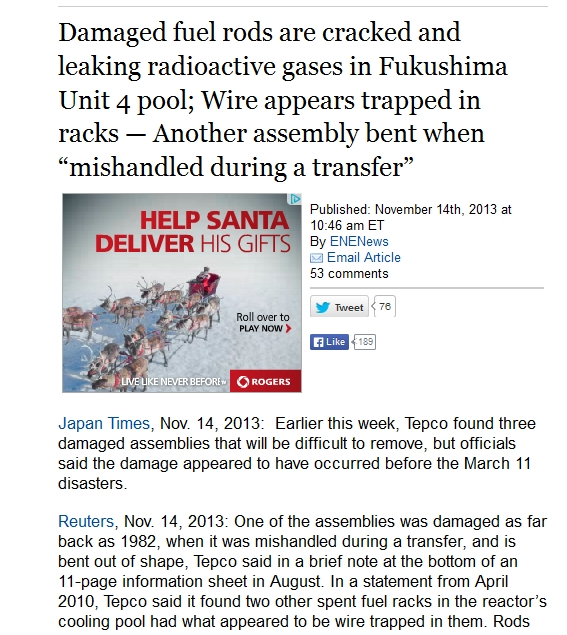 Damaged fuel rods are cracked and leaking radioactive gases in Fukushima Unit 4 pool; Wire appears trapped in racks.jpg
