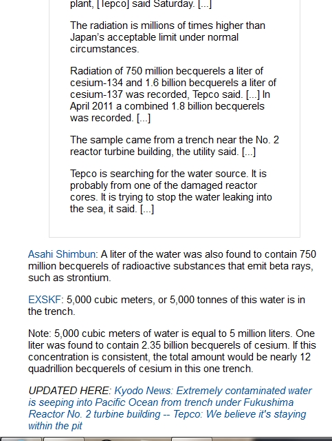 WSJ Extreme contamination found in trench at Fukushima plant — Cesium over 2 billion Bqliter; Millions of times above limit 2.jpg