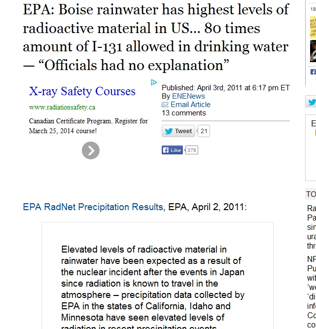 "4 EPA Boise rainwater has highest levels of radioactive material in US… 80 times amount of I-131 allowed in drinking water — ""Officials had no explanation"".jpg"
