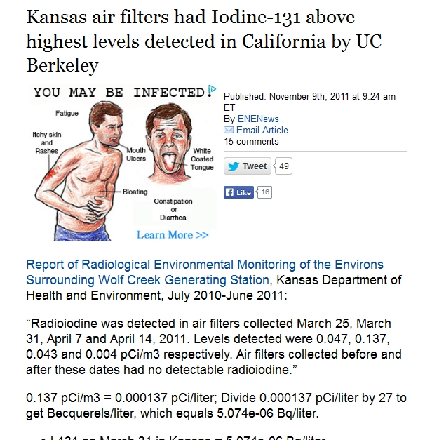 Kansas air filters had Iodine-131 above highest levels detected in California by UC Berkeley.jpg