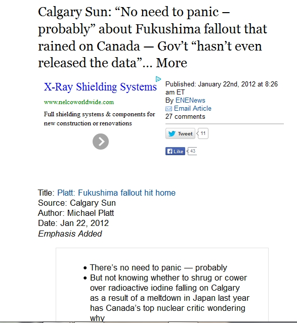 """0 Calgary Sun """"No need to panic – probably"""" about Fukushima fallout that rained on Canada — Gov't """"hasn't even released the data.jpg"""