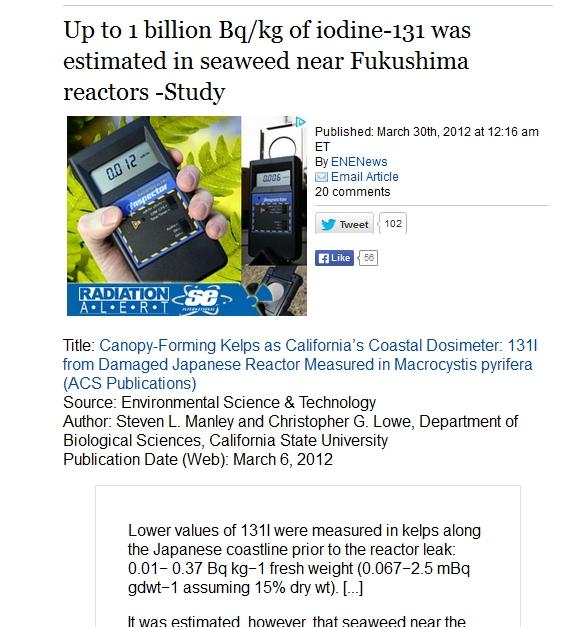 Up to 1 billion Bqkg of iodine-131 was estimated in seaweed near Fukushima 2.jpg