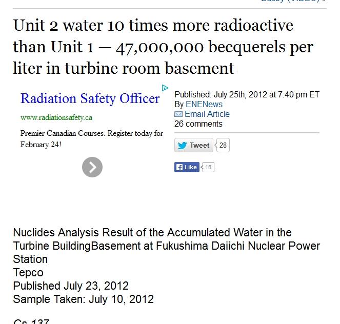Unit 2 water 10 times more radioactive than Unit 1 — 47,000,000 becquerels per liter in turbine room basement.jpg