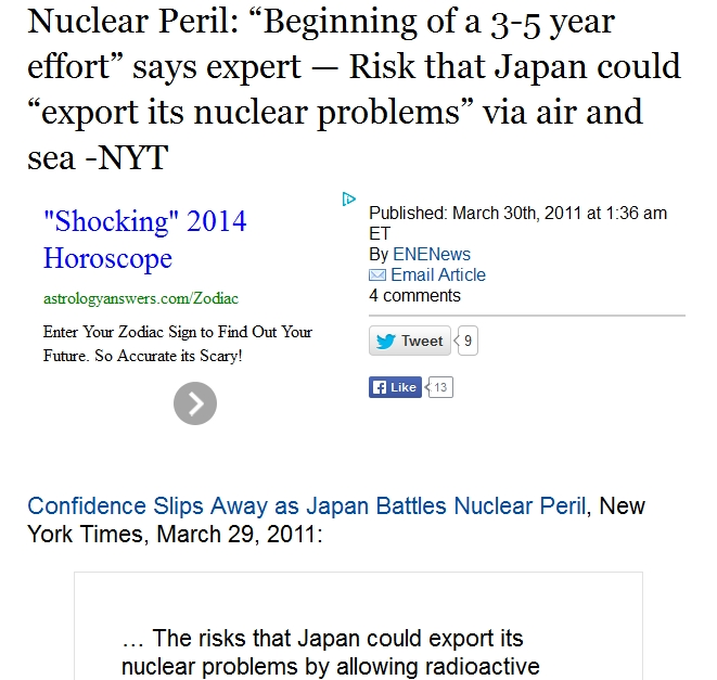 "v a Nuclear Peril ""Beginning of a 3-5 year effort"" says expert — Risk that Japan could ""export its nuclear problems"" via air and sea -NYT.jpg"