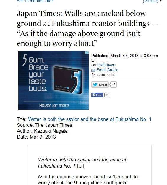 """Japan Times Walls are cracked below ground at Fukushima reactor buildings — """"As if the damage above ground isn't enough to worry about"""".jpg"""