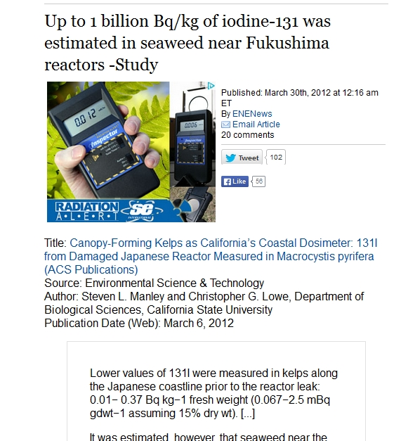 Up to 1 billion Bqkg of iodine-131 was estimated in seaweed near Fukushima 2.jpg