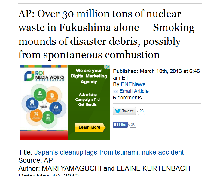 a AP Over 30 million tons of nuclear waste in Fukushima alone — Smoking mounds of disaster debris, possibly from spontaneous combustion.PNG