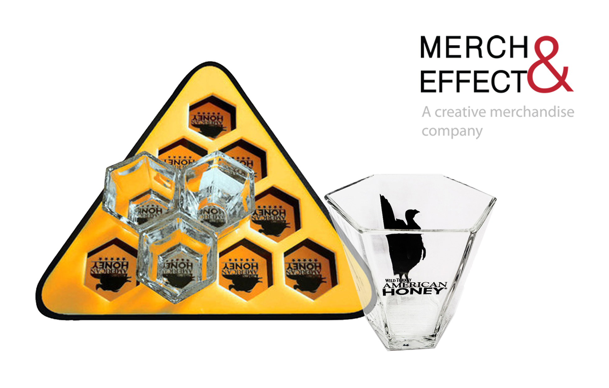 Glasses are also very versatile and  has a very broad demographic appeal. Everyone can appreciate a unique, fun, and creative way of enjoying the product that they have just bought. Also, there are many ways to integrate your brand  in the design. The honeycomb design of this tray and  shot glass for American Honey instantly recalls the brand's name and adds so much to the presentation. It also gives the ease of carrying them without having to worry about them slipping off the tray thanks to the innovative and complementing design of the tray and shot glasses.