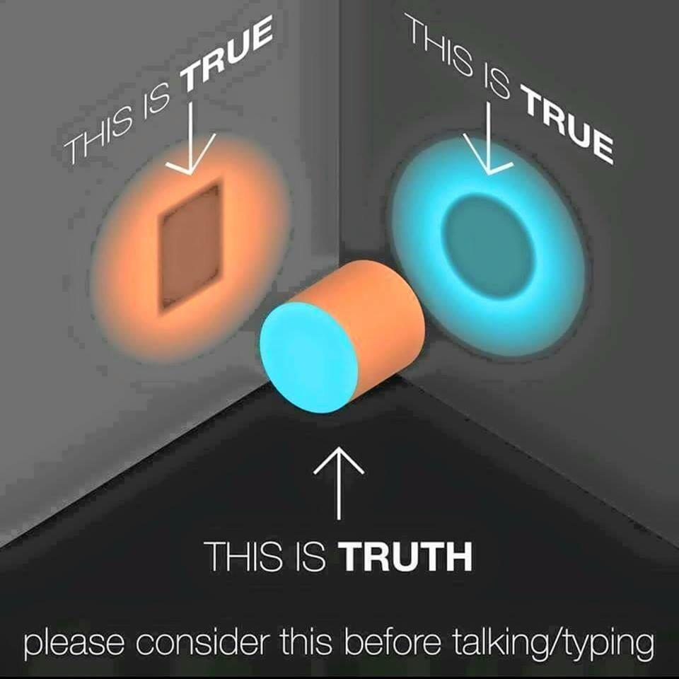 """An engineering illustration showing a shape that's both circular and rectangular, depending on which way you're looking at it, and the two holes it can fit in. Each hole is labeled as """"true"""", and the shape itself is labeled as """"TRUTH"""" At the very bottom is the message """"PLEASE CONSIDER THIS BEFORE TALKING/TYPNG"""""""