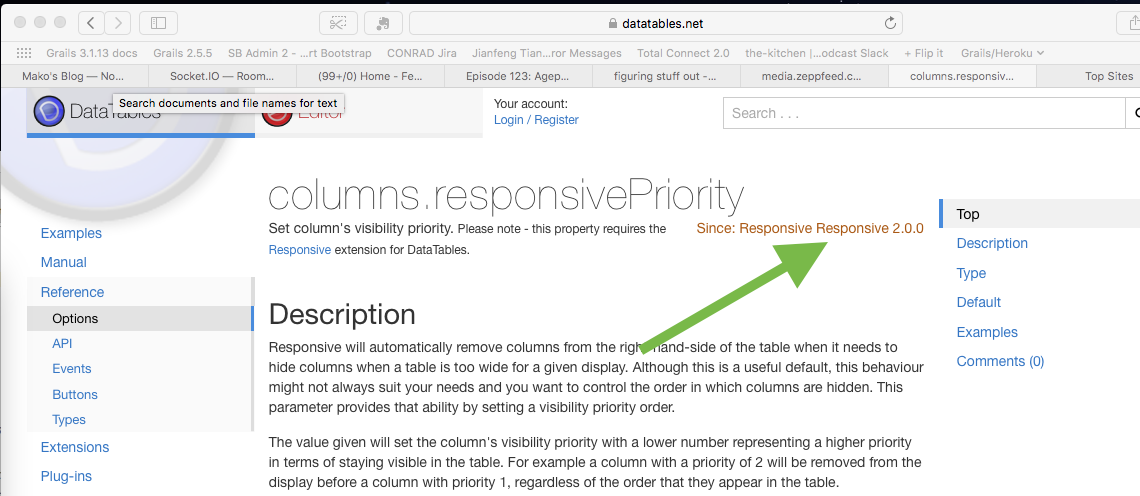 And here's the page that describes how to use responsivePriority. It works as of version 2.0.0.