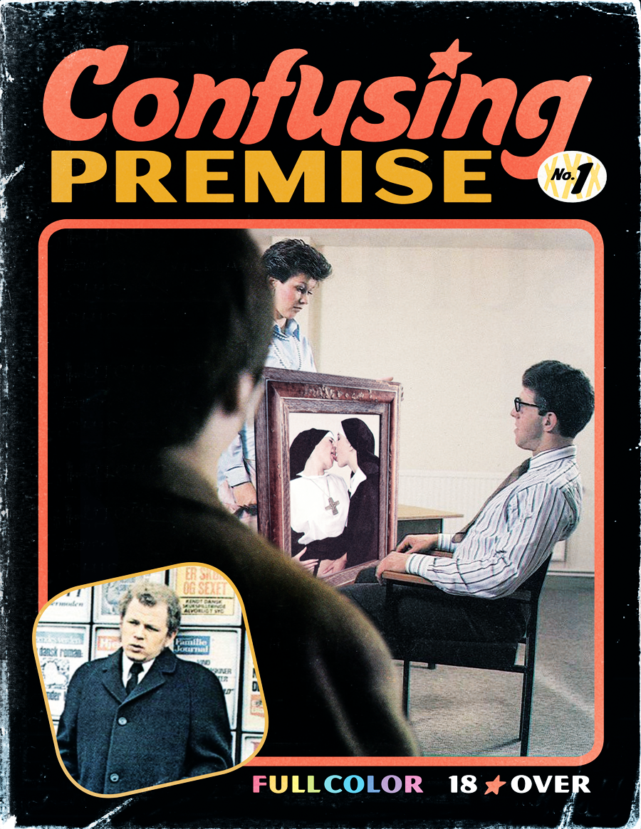 """Confusing Premise"" porn magazine cover, featuring a man watching another man forced to look at a painting of two nuns kissing, by another woman.  What fetish is this exactly?"