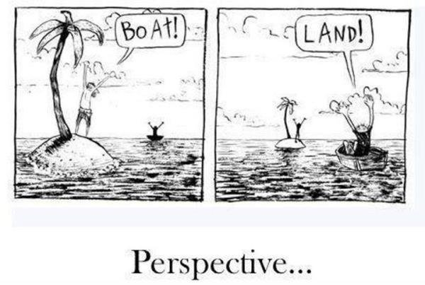"A cartoon.  In the left panel a castaway on a tiny island sees a boat in the distance, raises his arms, and cries out, ""BOAT!"".  In the right panel, the guy in the very tiny boat sees an island far away with someone on it, holds up his hands and cries out, ""LAND!"""