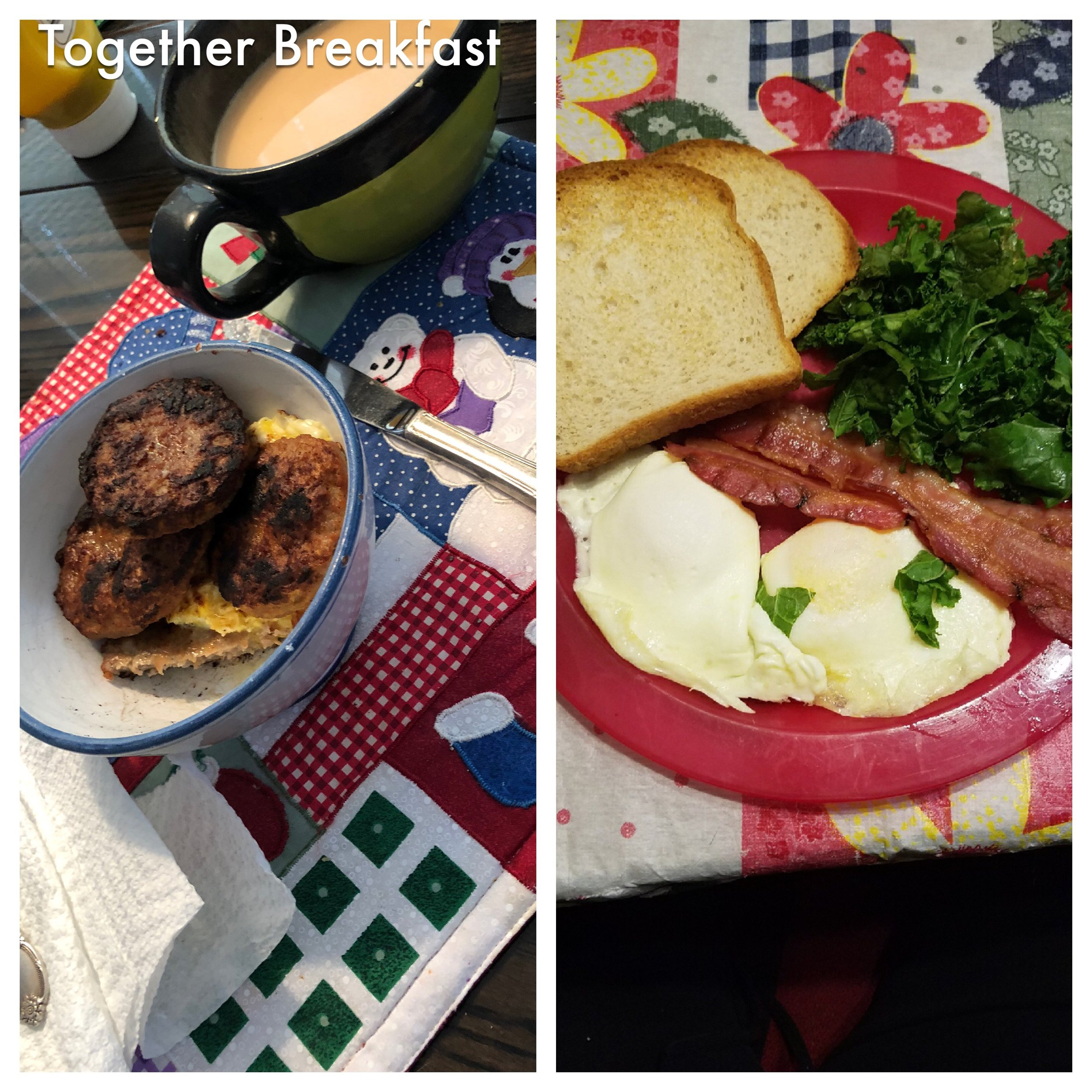 My breakfast is on the left.