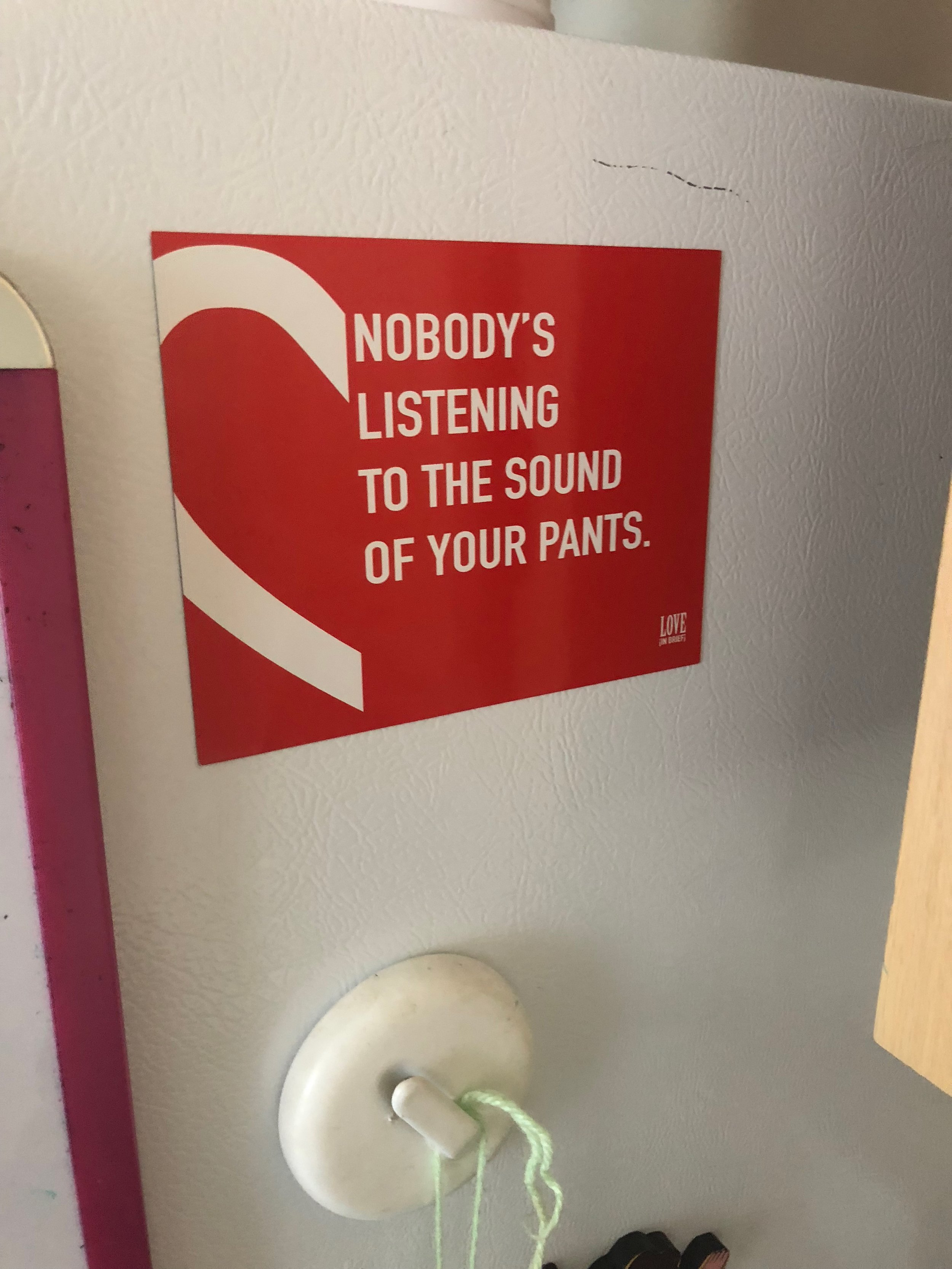 """Nobody's listening to the sound of your pants"" magnet"