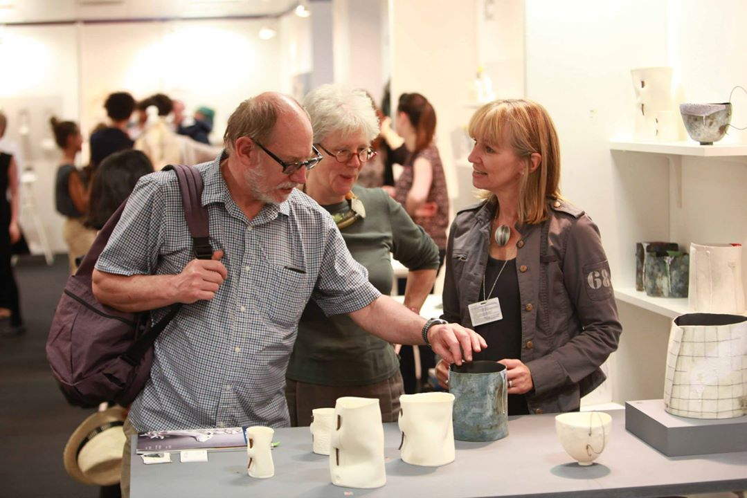 Selling work to collectors at One Year On/ New Designers at the Business Design Centre, London, recently.