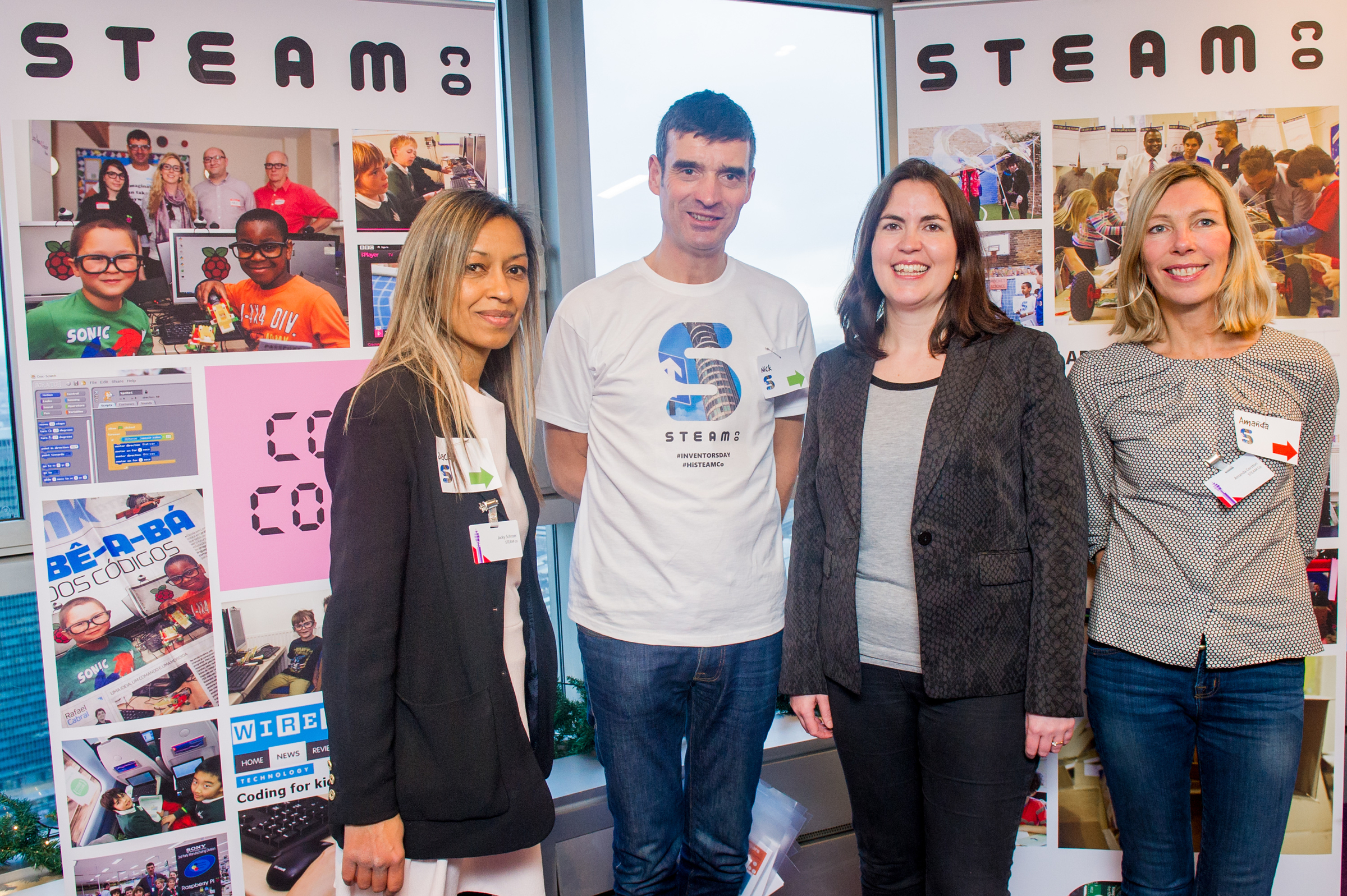 The core STEAM Co.team and co-founders (L-R), Jacky, NIck and Amanda and Suzy Christopher (2nd form right) from BT.