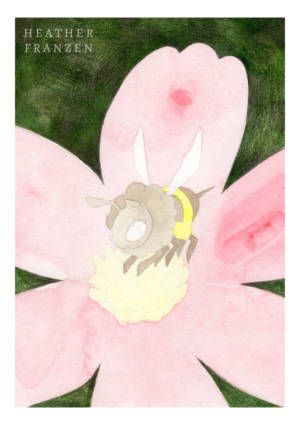 3. The Background  I fill in the background using Chrome Oxide Green (#278) and Warm Grey VI (#275). I carefully create a crisp edge along the petals with a sharp point, but fill in the rest of the area quickly with a blunt tip.
